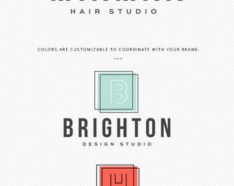 Premade Logo Design - Modern Gold Monogram - Geometric  - Simple Logo - Photographer - Hair Studio - Designer - Small Business - Branding