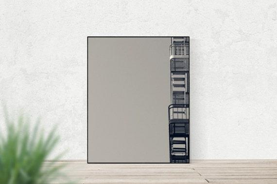 EXIT CALLS | Street photography | modern minimalist art print | fire escape | city apartment wall art | grey abstract art | urban decor