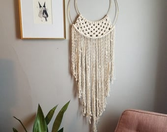 Double Hoop Macrame Dream Catcher, Fiber Art, Modern Macrame, Boho Wall Art, Wall Décor, Macramé