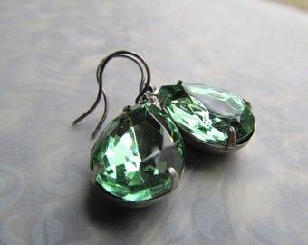 1920s Earrings Art Deco Earrings Art Nouveau Earrings Sterling Earrings Miss Fisher Earrings Green Earrings Pear Earrings- Peridot Drops