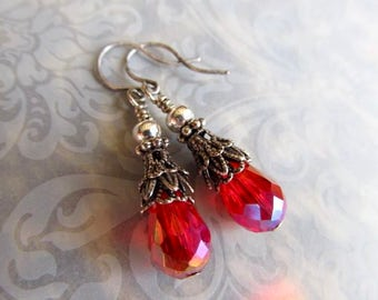 Gothic Earrings Art Nouveau Earrings Game of Thrones Jewelry Steampunk Earrings Miss Fisher Sterling Earrings Blood Red Earrings- Rhyme