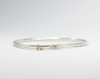 Thick Sterling Silver Bangle With Gold Rings, Silver Hammered Bangle With Diamond