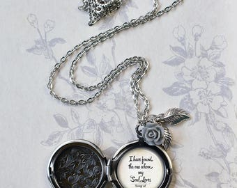 I have found the one my Soul Loves locket with Gray Rose, rose locket photo locket romantic gift Bible quote locket Bible verse wedding gift
