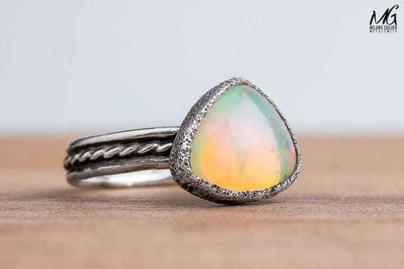 Ethiopian Opal Gemstone Ring in Sterling Silver - Size 5