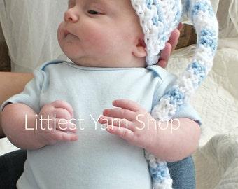 Baby Boy Set, Stripe Hat, Elf Hat, Newborn Photo Set, Newborn Photo Prop, Infant Hat, Blue Stripe Hat, Stripe Elf Hat