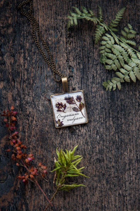 Botanical jewelry | Real dried pressed flowers necklace | Botanical specimen flower necklace | Pressed flowers necklace Real flowers jewelry