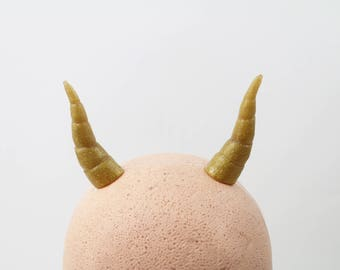 Gold glitter wicked costume horns