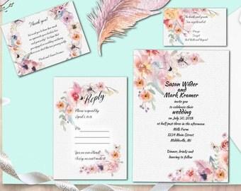 Boho Wedding Invitation Package, Bohemian Wedding, Marble Invitation,  Digital Invitation, Blue U0026
