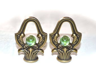 Iridescent Green Glass Marble Lamp Finial Pair, Very Attractive