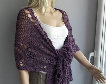 NonWool Shawl - Wedding Shawl / Bridal Shawl / for Wool Sensitive Skins / Pineapple Shawl / Crochet Shawl / Rectangular Shawl / Soft Yarn
