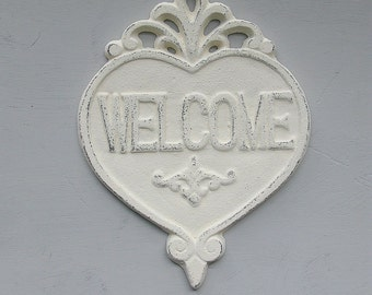 Heart Welcome Sign Plaque Cast Iron Creamy White Distressed Romantic Shabby French Farmhouse Cottage Decor PICK YOUR COLOR