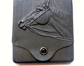 Vintage Metal  Match Book Holder With Cabochon Stone with Horses Head Design Vesta case