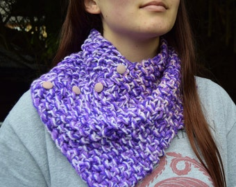 Chunky knit Cowl Scarf or Neck-warmer, Hand knitted in vibrant Purple Colours.