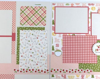 Pre-made Baby Girl Scrapbook Page Layout 2 pages 12x12 shower newborn