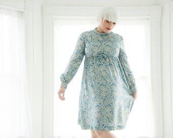 Vintage blue silver dress, metallic paisley long sleeve empire waist, ice winter, L XL plus size