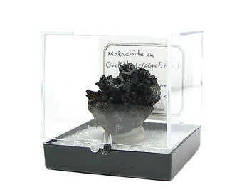 Goethite Black Smokestack Stalactites with green Malachite Mineral Specimen Mined in Mexico in acrylic museum box from estate collection