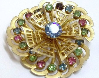 Multi Color Pastel Rhinestone Brooch Rhinestone Pinwheel Brooch Spring Easter Summer Jewelry Pastel Wedding Bridal Brooch DD 742