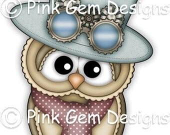 Digi Stamp 'Steampunk Ollie' -  Cute Owl