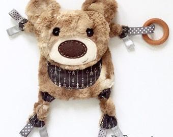 Mini bear lovey baby blanket organic wooden teething ring toy clip