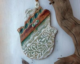 Hope Hamsa Wall Hanging, Handmade Ceramic Textured Hamsa, Good Luck Charm, Ready to Ship.