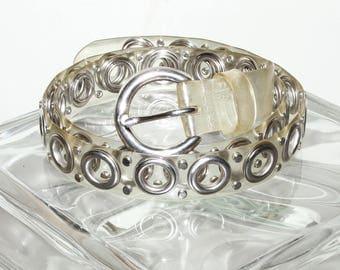 Vintage 90s Clear Jelly Grommet Belt Womens S/M/L