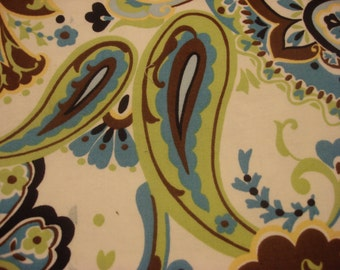 Vintage Cotton Lime Green and White Paisley