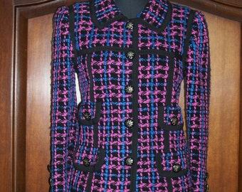 Adolfo jacket,black/pink/blue woven wool boucle,size 6