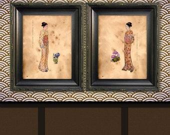 Kimono Juban Art Japanese Style Young Maiden Art Prints Traditional Geisha Japanese Woodblock Style Art