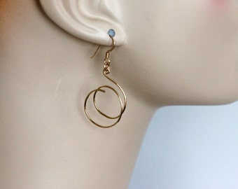 gold hoop earrings | medium spiral hoops | lightweight earrings | 14k gold filled hoop earrings | long dangle earrings | handmade girlthree
