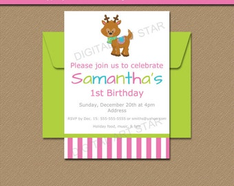 Reindeer Invitation - Christmas Party Invitation - Girl Birthday Party Invite - Reindeer Birthday Invitation - Holiday Party Printables C1