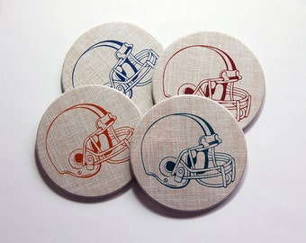 Football Coasters, Sports Coasters, Coasters, Hostess Gift, Tableware, Fathers Day, Gift for Dad, Football Fan, cork backing (7364)