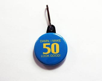 50th birthday, fifty, 50 zipper pull, purse charm, zipper pull, 50 birthday, blue, yellow, birthday zipper pull, birthday gift (1083)