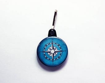 Compass zipper pull, Nautical, Blue zipper pull, backpack zipper pull, zipper pull, stocking stuffer, gift for him, gift for boy (7598)