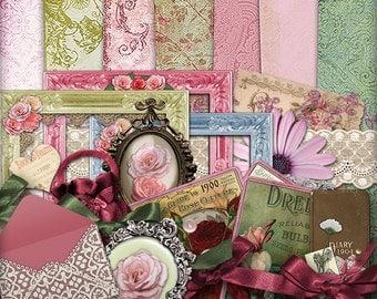 Digital Scrapbook Kit | Vintage | Scrapbooking | Papercraft | Vintage style | Digital Paper |  Printable | Fashion | Romantic | Mini Album