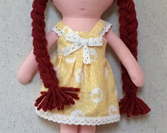 Dressable Fabric Doll in yellow summer dress cloth doll rag doll