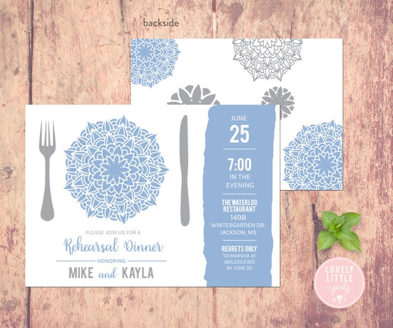 Rehearsal Dinner Invitation - Plated Floral Collection -  Lovely Little Party