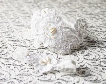 Bridal Garter Set Wedding Garter Set - Ivory Garter Lace Garter - Keepsake Garter Toss Garter Included - Vintage Inspired Rustic Garter Boho