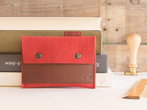 Felt and leather PASSPORT WALLET / passport case / felt wallet / orange wallet / wool felt / felt passport wallet / passport cover