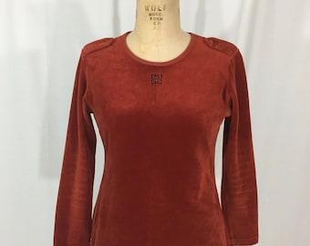 vintage 1970s GIVENCHY for Chesa top / velvet / rust orange / vintage blouse / vintage shirt / women's vintage top / size medium