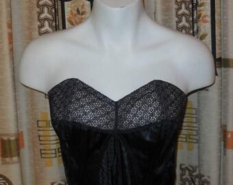 DEADSTOCK Vintage 1940s Bra Vintage Unworn Bustier Black Satin Fine Net Lace NWT German Wellco Rockabilly Art Deco Noir Pinup M chest 38