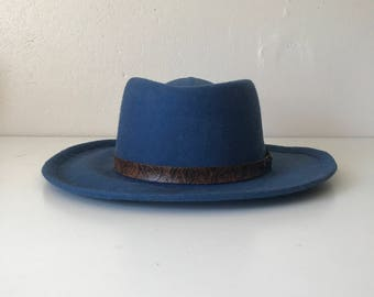 Vintage Wool + Tooled Leather Hat