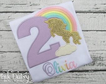 Girls Birthday Shirt - Rainbow Unicorn Birthday Shirt - Pink Gold Unicorn Silhouette - Pastel Rainbow - Appliqué Shirt - Embroidered Shirt