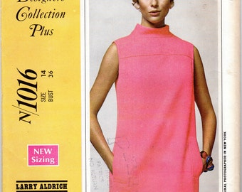 "1960's Mod Shift Mini- Dress Pattern - Size 14, Bust 36""- McCall's N1016, Larry Aldrich design, uncut"