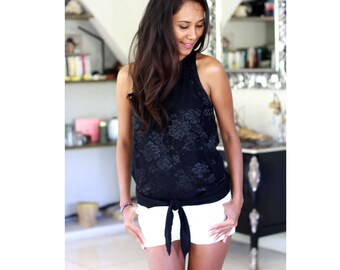 Floral Lace Top in Black / Womens Top / Party Top / Hi-Low Lace Top