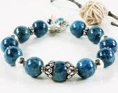 Apatite Bracelet, .925 Sterling Silver, silver pewter, blue gemstone, cluster charm, boho statement bracelet, holiday gift for her, 3917