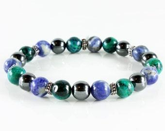 Men's Unisex Gemstone Bracelet, beaded stretch bracelet with sodalite, jasper, hematite and silver accents, semi-precious stones, gift