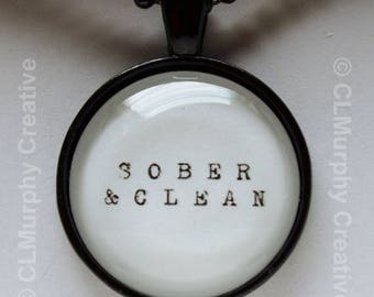 Sobriety Necklace Pendant Jewelry Hope Faith Living Sober Recovery AA NA C L Murphy Creative