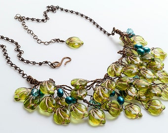 Blue and Green Bib Necklace, Green Statement Necklace, Floral Jewelry, Blue and Green Bridal Necklace, Wedding Jewelry