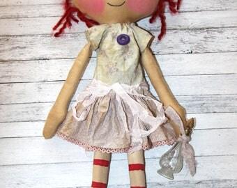 Pretty in Purple Perfume Lucy Anne - Primitive Raggedy Ann Doll