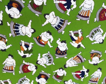 Sumo wrestler Japanese hankerchief green cotton fabric , japanese sumo wrapping cloth quilt fabric, kawaii fabric, japanese yukata fabric